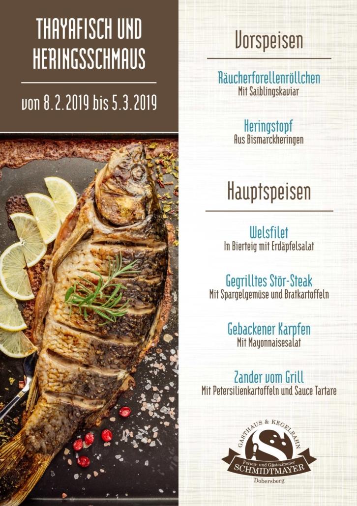 Schmidtmayer Fischkarte 2019 FBWebVFertig 726x1030 - Thayafisch und Heringsschmaus! 8.2.-5.3.2019